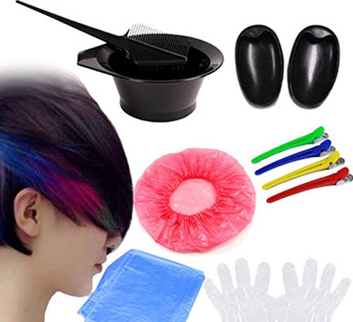 7Pcs DIY Hair Dye Coloring Tools Hair Dyeing Kit Mix Bowl Hairdressing Brush Comb Section Clips Set by Advanced by Advanced