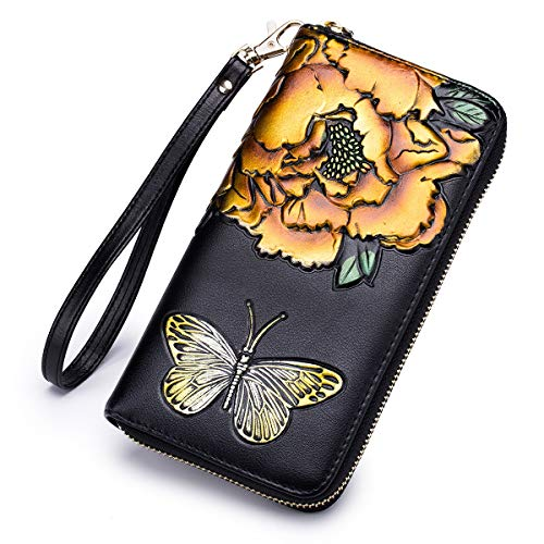 Leather Painted Wallet Hand Flower (APHISON Hand Painted Flowers Ladies Clutch Purse Change Phone Card Admission Package - Peony/Bauhinia (P-YELLOW))