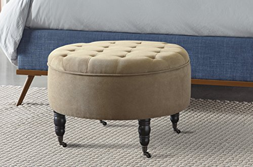 Elle Decor Quinn Round Tufted Ottoman with Storage and Casters - Beige