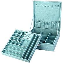 KLOUD City two-layer lint jewelry box organizer display storage case with lock (Blue)