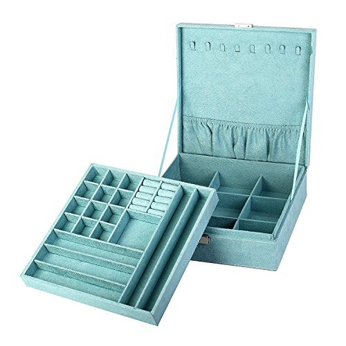KLOUD City two-layer lint jewelry box organizer display storage case with lock (Blue)