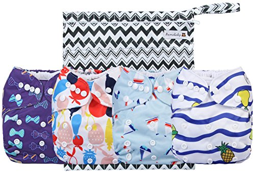 Cloth Diapers 4 Pack Adjustable Size Waterproof Washable Pocket Baby Cloth Diaper Cover and Inserts with Wet bag by Anmababy(Blue) (Simple Cover Diaper)