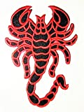 Patch Portal Red Scorpion XL XXL Large Back Patches 11'' Applique Embroidered Sewing Iron On Emblem Animal Wildlife Badge Trendy Embroidery Pattern Logo Design for Cloth Shirt Jeans Jackets Backpacks