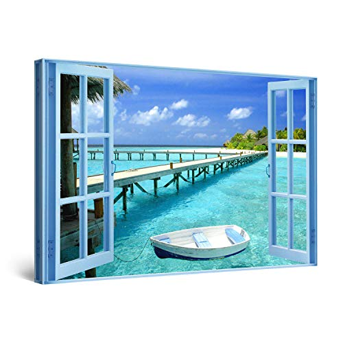 - STARTONIGHT Canvas Wall Art - Window to Paradise Beach, Windows Framed 32 x 48 Inches