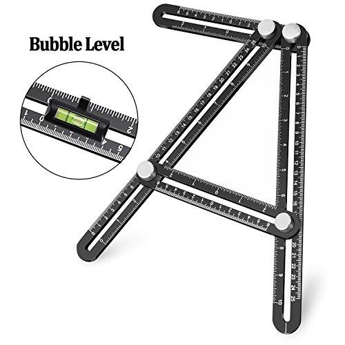 Multi Angle (Template Tool, UBeesize Premium Aluminum Alloy Multi-Angle Measuring Ruler with Unique Line Level for DIY, Carpenters, Craftsmen)