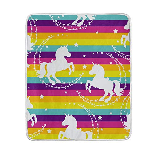 (Unicorn Stars Colorful Striped Pattern Soft Warm Throw Blankets Lightweight Velvet Short Plush Microfiber Blanket for Bed Couch Chair Sofa Travelling Camping 50'' x 60'')