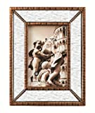 Burnes of Boston Antique Bronze Beaded Photo Frame with Mirror Inlay, 4 by 6-Inch