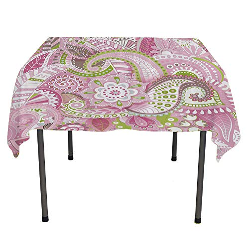 Flower House Decor Collection, Washable Table CoverDecorative Lively Colorful Paisley Print with Floral Design Dots Swirls Stripes Leaves, for Outdoor and Indoor Use, 54x54 Inch Pink