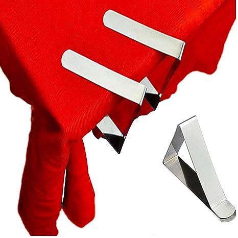 FineInno Mantel Pinzas Acero Inoxidable Clips Table Mesa Sujeta manteles Sujetadores Manteles Plana Tablecloth Clips para