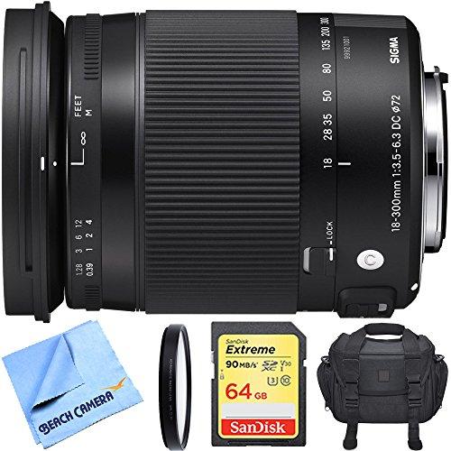 Sigma 18-300mm F3.5-6.3 DC Macro HSM Lens (Contemporary) for Sony Alpha Cameras includes Bonus Sigma Close-Up Lens and More by Beach Camera