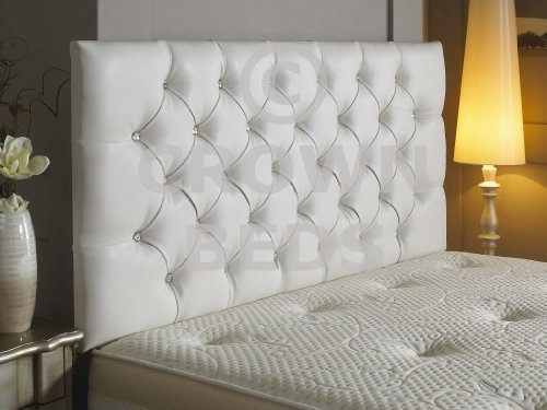 Diamante Leather - TOP QUALITY DIAMANTE FAUX LEATHER HEADBOARD ALL SIZES (WHITE, 4FT6) by CROWNBEDSUK