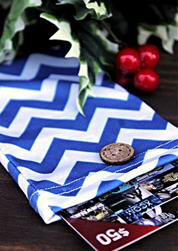 Birthday Gift Card Holders (Set of 2) - Stretchy Fabric, Reusable and Eco Friendly - Blue and White Chevron (2 Gift Card Holder with 2 FREE Gift Tag)