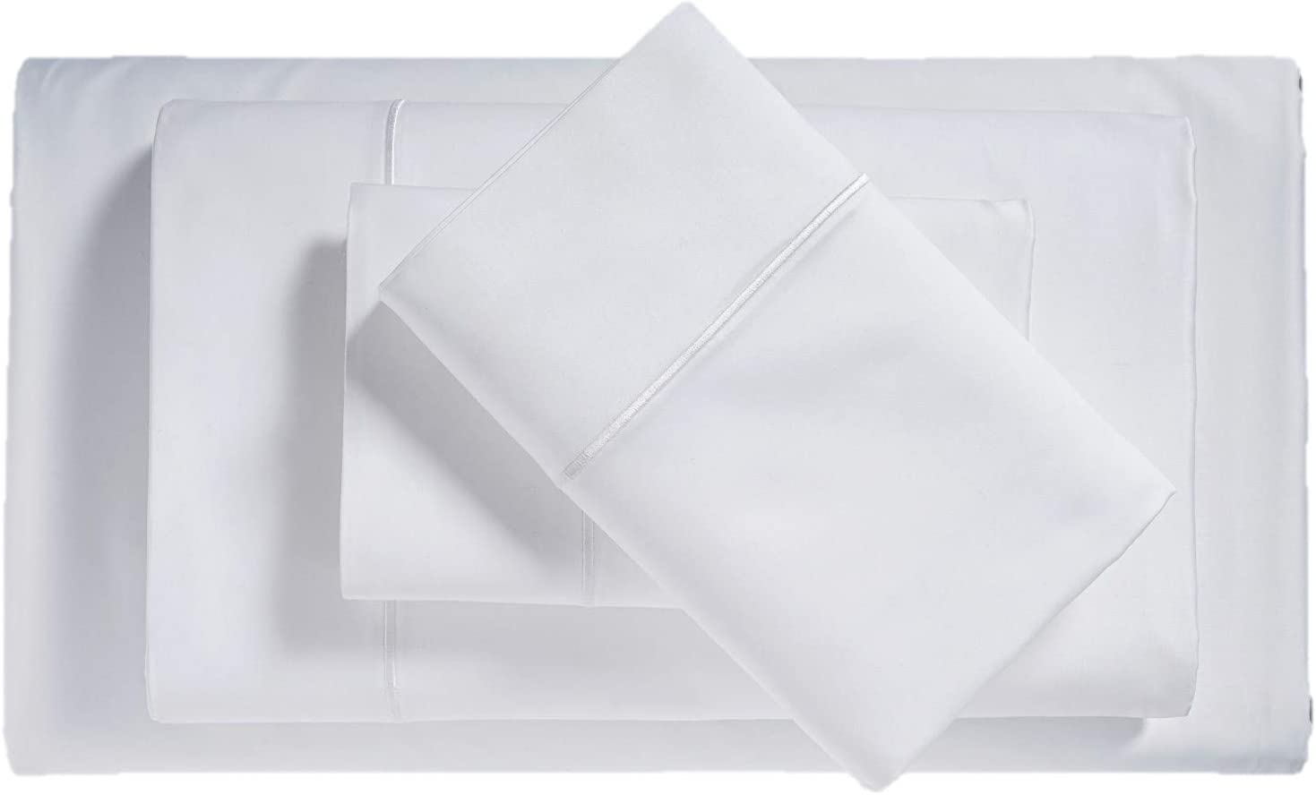 Isabella Cromwell Egyptian Cotton Blend 4 Piece Sheet Set 1000 Thread Count Solid 16 Deep Pockets Fits Upto 18 Mattresses Sateen Weave Soft Comfort Bedsheets Bedding Hotel Luxury Queen White Home Kitchen