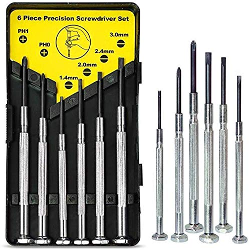Game Controllers Toys,Watch DIY Projects Mini Small Precision Screwdriver Set,6Pcs Different Size Flathead and Phillips Screwdrivers for Eyeglass Jewelers Electronic Devices