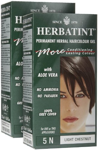 Herbatint Permanent Herbal Hair Color Gel, Light Chestnut, 5N, 2 -
