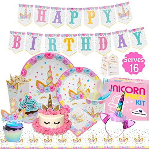 Unicorn Party Supplies Kit - Birthday Party Supplies|Headband|Cake Topper| Cupcake Wrappers|Popcorn Boxes Party Favors Bags| Napkins| Plates|Cups| 2 Table Cloths Decorations Theme for Girls| Serve 16! ()