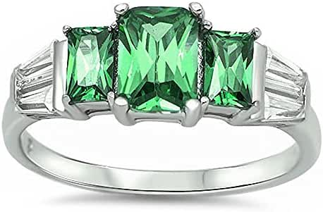 Simulated Emerald & Cubic Zirconia .925 Sterling Silver Ring Sizes 5-10
