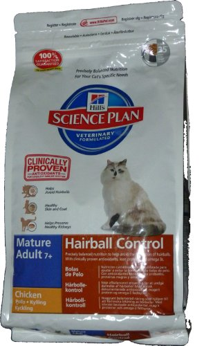 Hill's Cat Food Hairball Control Senior Chicken Dry Mix...