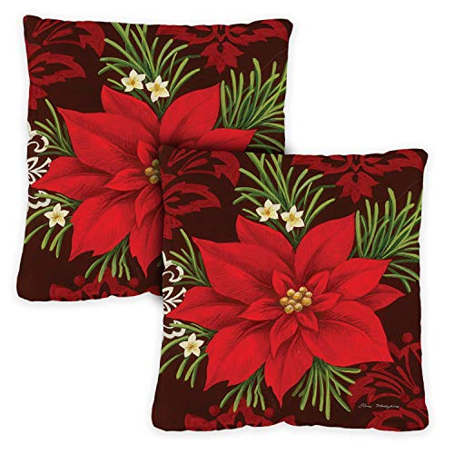 Toland Home Garden Decorative Red Poinsettia Winter Holiday Christmas Xmas Flower 18 x 18 Inch Pillow Case (2-Pack) from Toland Home Garden