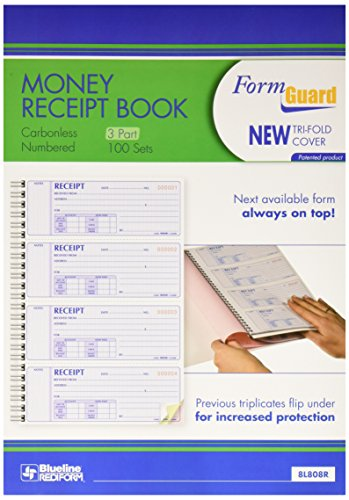 Rediform Formguard Money Receipt Book, 2.75 x 7 Inch, 4x100 Receipts (8L808R) ()