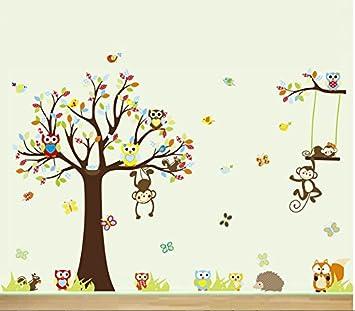 Wandtattoo kinderzimmer  HALLOBO® Wandtattoo XXXL Eulen Affen Fuchs Baum Wald Tier ...