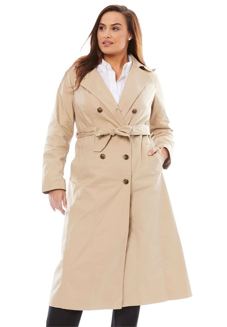 Jessica London Women's Plus Size Double Breasted Long Trench Coat New Khaki,22