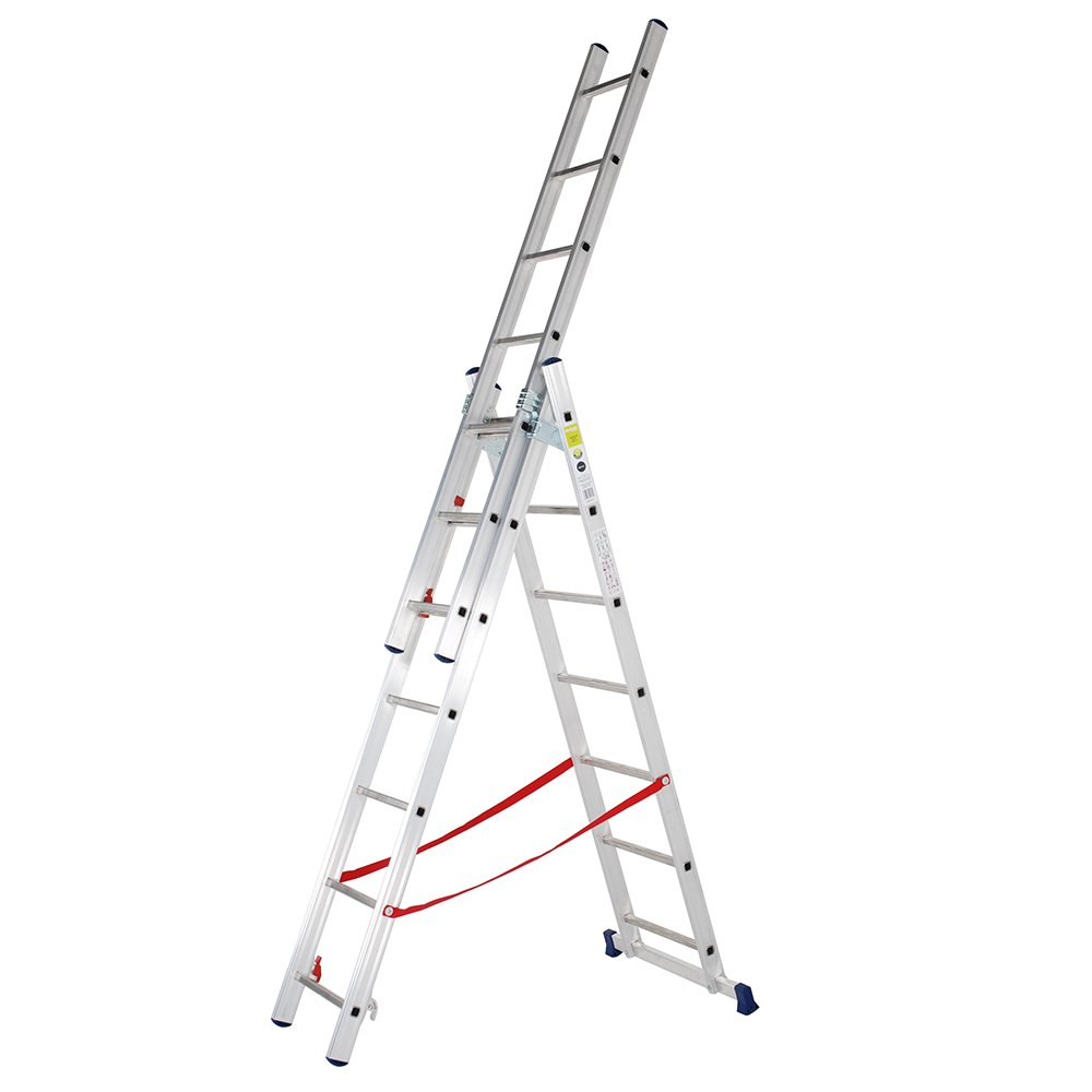 TB Davies Light Duty 2.6m Triple Section Aluminium Extension Ladders & Combi Step Ladder, Made in Italy, EN131