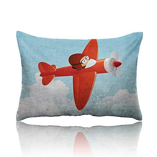 - homehot Kids Mini Pillowcase Cute Airplane Flying in The Cloudy Sky Little Boy Pilot Baby Children Cartoon Print Fun Pillowcase 20