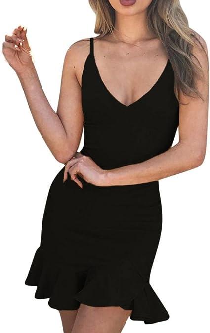 Yesmile 💋💝Vestido de Mujer Falda Negro Vestido Elegante de Noche ...
