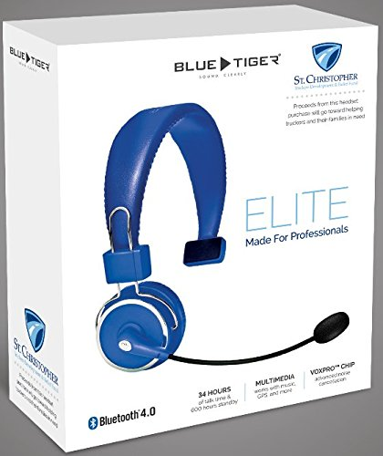 Blue Tiger Elite Bluetooth Headset- Over Head Driver Hands Free Wireless HD Noise Canceling Multiple Device Connect Loud Speaker Foldable Headphones Flexible Headband and Boom Microphone 34H Talk Time by Blue Tiger