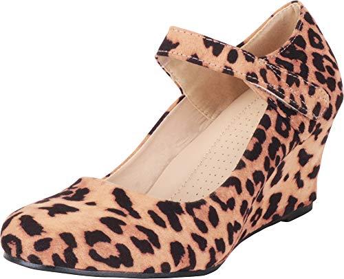 Cambridge Select Women's Round Toe Mary Jane Strap Wrapped Wedge,7 B(M) US,Leopard IMSU (Print Mary Animal Janes)