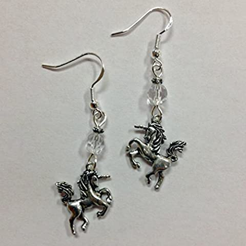 Unicorn Fantasy Earrings with clear crystal accent beads, on sterling silver earwires - Crystal Unicorn
