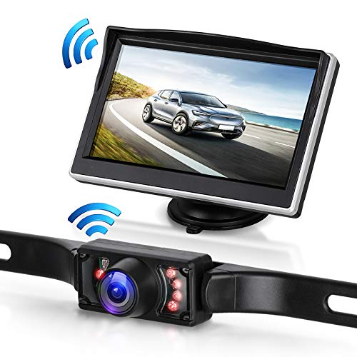 EEEKit Backup Camera Wireless and Monitor Kit, Car Wireless Rear View Cameras System Full Color LCD Display Waterproof Night Vision with Wireless Transmitter Receiver for Truck Trailer RV Camper