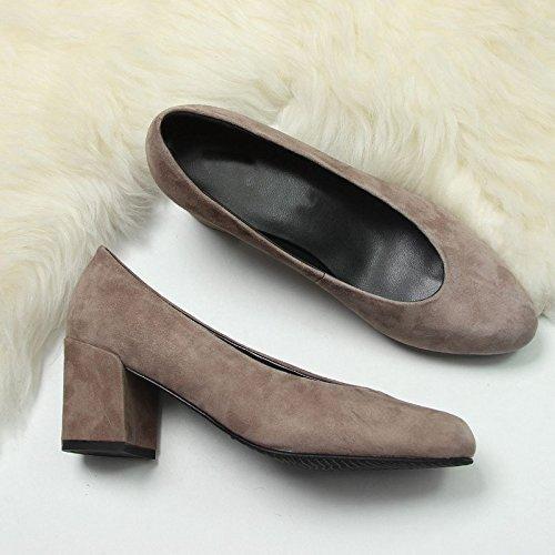 Zapatos tacón Jqdyl grueso de mujer Tacones moda Gray fqxB5tpwx