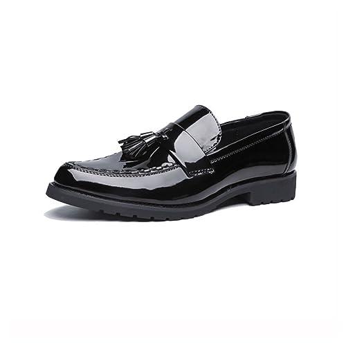 NXY Mocasines para Hombres en Charol Brillante Ponerse Zapatos de conducción Borla de diseño Negro: Amazon.es: Zapatos y complementos