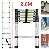 2.6M 8.5Ft Multi-Purpose Aluminium Telescopic Ladder Extension 9 Steps Light-weight Sturdy 150KG Heavy Duty Load Capacity, UK Stock