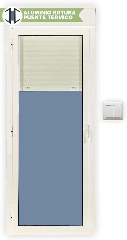Balconera Aluminio RPT Practicable Oscilobatiente Izquierda con Persiana motorizada y con lamas de aluminio 800X2185 1hoja con cristal climalit (Guías y cajón persiana preparado en kit)