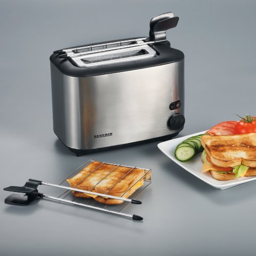 2 Fentes 540 W SEVERIN Grille-Pain Automatique Pinces /à Sandwich Incluses AT 2516 Inox//Noir