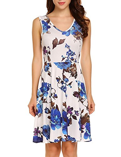 Swing Women's Vintage Pat4 Printed V Floral neck 1940s Dress Deep Sleeveless ACEVOG OzdScwqEE