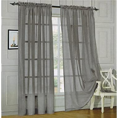 HLC.ME Charcoal Grey 2-Pack 108  inch x 95  inch Window Curtain Sheer Panels