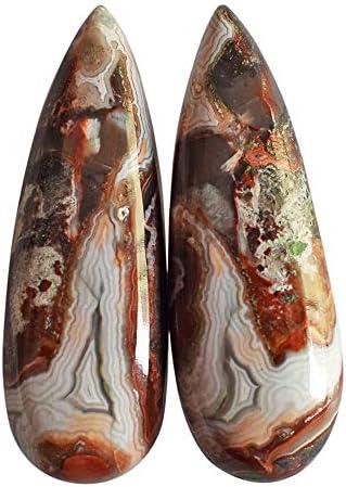 Ohrringe Ahorn Achat Cabochon Birnenform Größe 35 x 12 x 5 mm 1 Paar marokkanischer Achat Schmuckherstellung