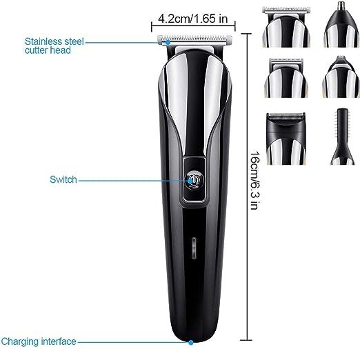 Grooming kit, leegoal impermeable afeitadora 6 en 1 recortador para barba/Cuerpo/pelo/nariz/cejas/orejas con Peine para mujer y hombre: Amazon.es: Salud y cuidado personal