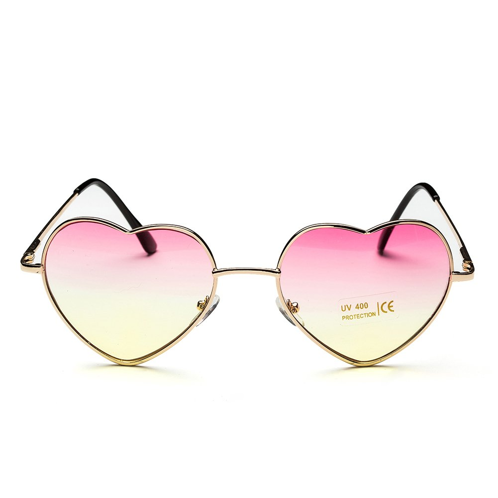 Big Heart Shaped Aviator Sunglasses Thin Gold Frame Glasses for ...
