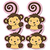 Pink Monkey Girl - Monkey Decorations DIY Baby Shower or Birthday Party Essentials - Set of 20