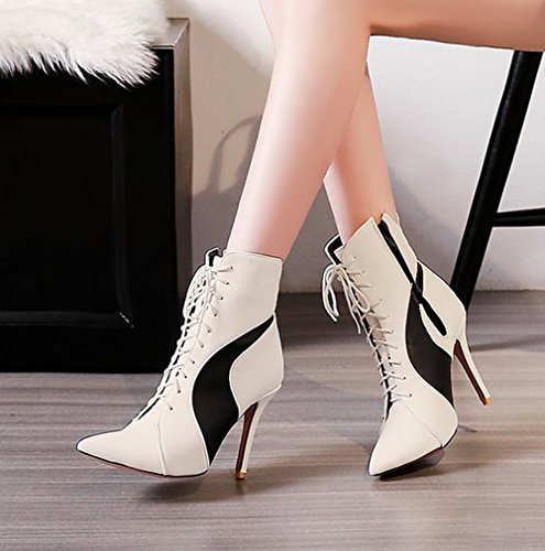 Mee Shoes Women's Chic Lace Up Stiletto High Heel Ankle High Boots White LNMVspJWT