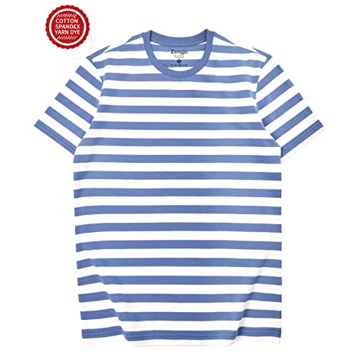 Zengjo Essential Stripes T-Shirts Comfort Short-Sleeve Crew-Neck Striped Tee Top (XXL, Cornflower Blue&White WD) ()