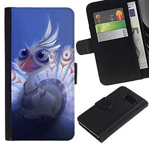LECELL--Cuero de la tarjeta la carpeta del tirón Smartphone Slots Protección Holder For Samsung Galaxy S6 -- Bebé lindo del Águila --