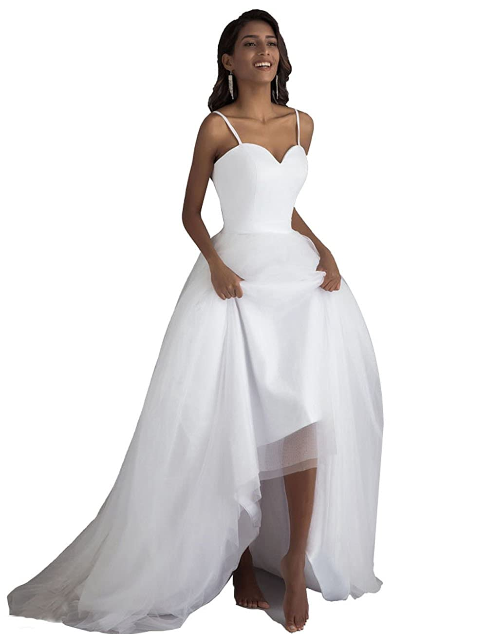Lorie Spaghetti Strap Beach Wedding Dresses With Sashes Small Train