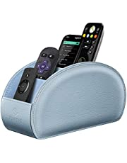 Fintie Remote Control Holder, Vegan Leather TV Remote Caddy Desktop Organizer 5 Compartments Fits TV Remotes, Media Controllers, Office Supplies, Makeup Brush (Frozen Blue)