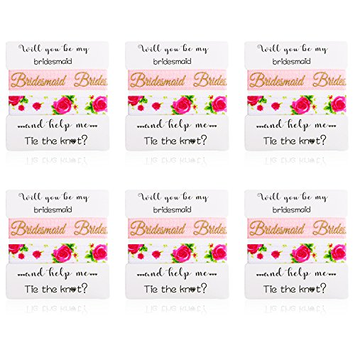 Nymph Code Bridesmaid Gifts Bachelorette Party Supplies - 6 Set Rose Gold Love Knot Bracelets with Bridesmaid Hair Ties,Perfect Bridal Shower Gifts for Bridesmaid by Nymph Code (Image #3)